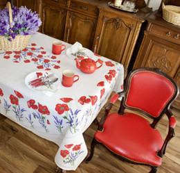 Poppy Ecru French Tablecloth 155x250cm 8seats COATED Made in France