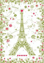 Paris fleuri vert Tea Towel Made in France