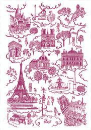Paris toile de Jouy Rouge Tea Towel Made in France