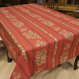 Clos des Oliviers Red French Tablecloth 155x200cm 6Seats Made in France