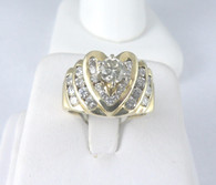 1 1/4 Carat Heart Design Diamond Ring, in 14k Yellow Gold
