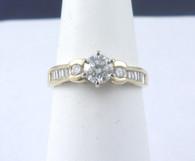 3/4 Carat Round & Baguette Diamond Ring, in 14k Yellow Gold