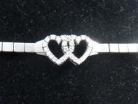 1 1/2 Carat Diamond Interlocking Hearts Bracelet, in 18kt white gold