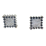 2 1/2 Carat Diamond & Black Diamond Square Earrings, in 18kt White Gold