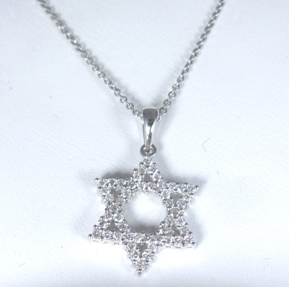 12 carat diamond star of david pendant necklace in 14kt white gold image 1 aloadofball Image collections