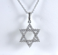 1/2 Carat Diamond Star of David Pendant Necklace, in 14kt White Gold