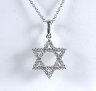1/2 Carat Diamond Star of David Pendant Necklace, in 14kt White Gold