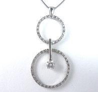 1 1/4 Carat Circle Pendant Drop Necklace
