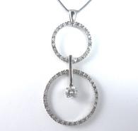 1 1/4 Carat Circle Pendant Drop Necklace