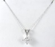 1 Carat Princess Cut Diamond Solitaire Pendant Necklace, in 14k White Gold