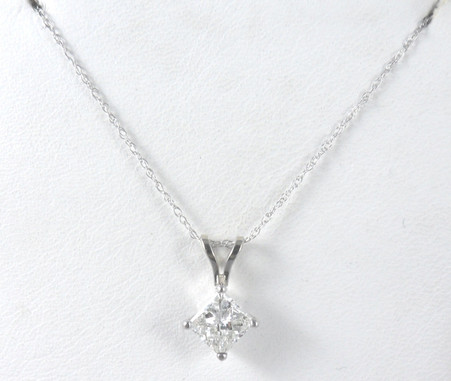 1 carat princess cut diamond solitaire pendant necklace in 14k princess cut diamond solitaire pendant necklace in 14k white gold image 1 aloadofball Images