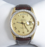 18kt Yellow Gold Diamond Rolex Datejust on Leather Strap