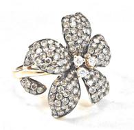Chocolate Diamond Flower Ring
