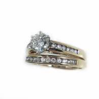 3/4 Carat Round Diamond Engagement Ring With Matching Wedding Band