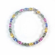 Rainbow Sapphire and Diamond Tennis Bracelet