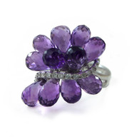 Amethyst and Diamond White Gold Ring