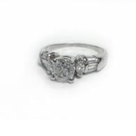 1.02ct Round Diamond Ring with Baguette and Marquise Accents