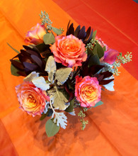 Amazing garden roses with dusty miller