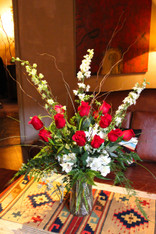 One Dozen long stem red roses in a cylinder glass vase - 3+ Feet tall  + personal delivery in Santa Fe