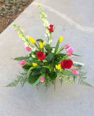 Tulips and Roses with fancy greens and  2-3 ft tall larkspur