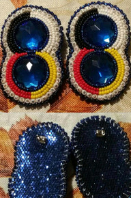 Beaded Earrings 2 Blue Gems