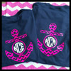 This is the back of the shirt.  The front has a pink circle with a white monogram just like the back.  These colors are hot pink and white.