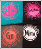 "Adorable tees with ""Grandma"" Name and Grandkids names!  You choose your colors and customize your names!  Design colors are Gray with coral, turquoise with pink, black with pink, and black with white."