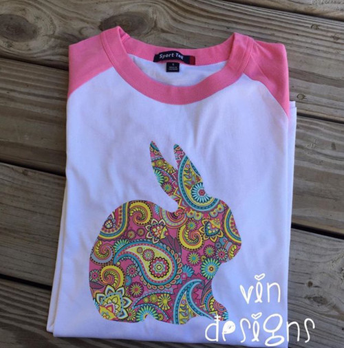 Pink Paisley Bunny Shirt