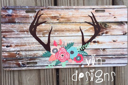 Antler and Floral car tag