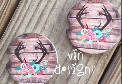 Antlers and Floral car coasters