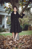 Black Wool and Cashmere Coat with faux Fur cuffs made in the USA by evangeline clothing