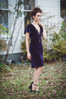 Deep plum silk velvet midi dress made in the USA by evangeline clothing