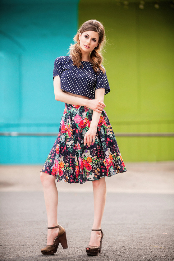 Cotton midi circle skirt with high waist and bird and flower print.  Made in the USA by evangeline clothing.