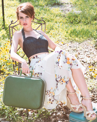 Silk and Cotton high waist midi circle skirt with fruit floral print.  Made in the USA by evangeline clothing.