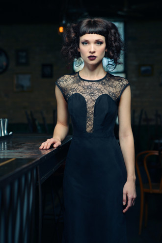 Black lace and rayon cutout midi dress.  Made in the USA by evangeline clothing.