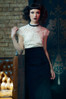 Black velveteen midi pencil skirt. Made in the USA by evangeline clothing.