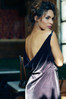 Dark purple velvet maxi wrap dress made in the USA by evangeline clothing.