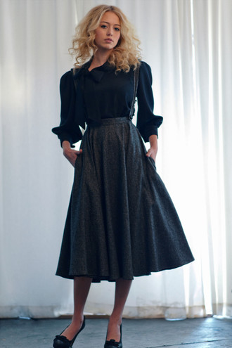 The Josephine Tweed Suspender Midi Skirt