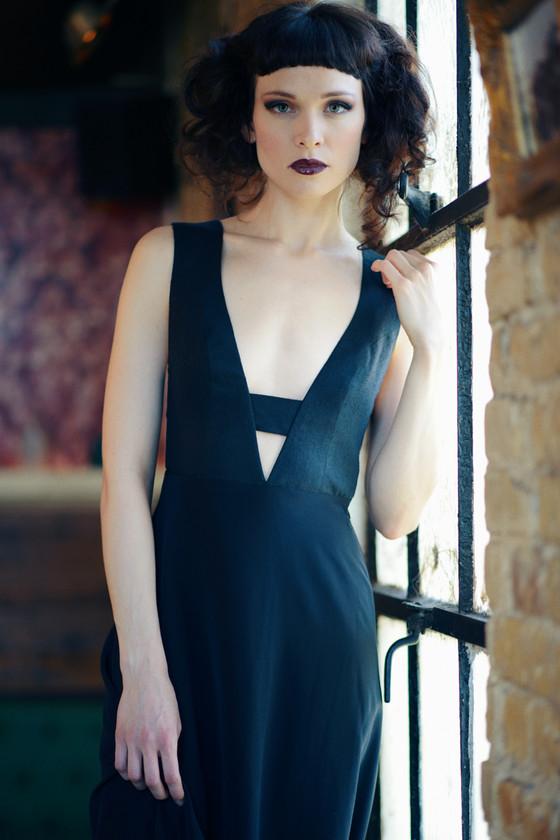 The Anais Black Silk Maxi Dress With A Plunging Neckline