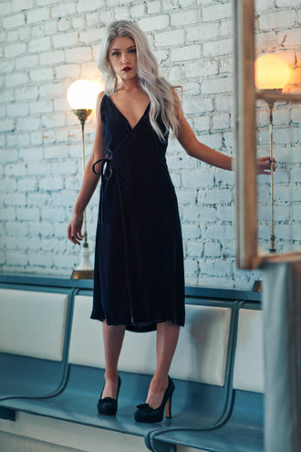 The Adele Silk Velvet Wrap Dress