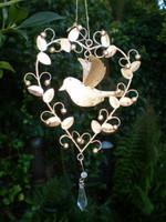 Romantic hanging Dove Heart Decoration