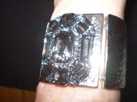 Gorgeous Danish sparkling Crystal and Nickel Cuff Bracelet