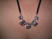 Gorgeous Danish Facetted Crystals set into Nickel Black Rope Necklace