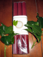 6 Christmas Burgandy Red non drip Dinner Candles,Made in Cornwall,England,Natural Wax