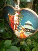 Beautiful Vintage metal Santa heart Christmas decoration