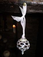 2 Danish Luxury Silver Crystal and Ceramic Christmas  hanging bauble decorations