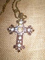 Danish Crystal Gold Rhodium Crucifix Neclace.