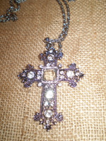 Danish Crystal Silver coloured Nickel Crucifix Necklace