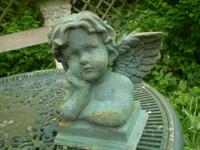 Architectural Salvage,Vintage French Romantic Cast Iron Cherub Statue