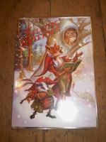Traditional English Christmas,Yuletide card,Fox & Badger singing Carols,Eco Friendly